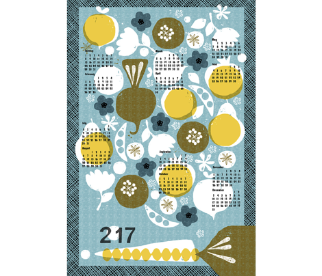 2017 produce tea towel calendar - 27 inch