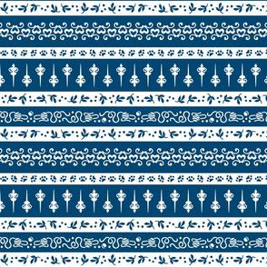 Damask Cats Stripe - BLUE