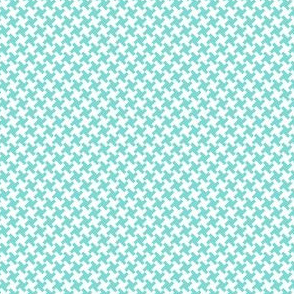 Houndstooth White&Aqua small