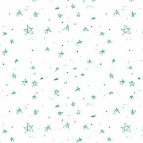Stars and Galaxies Little Teal Stars (on white)