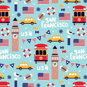 San Francisco usa travel icons colorful icons and illustration pattern