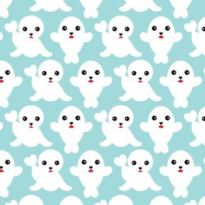 Baby blue adorable winter seal illustration pattern