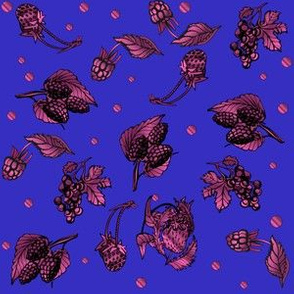 Berry Garden Ditzy on Blue Medium