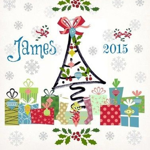 white christmas-personalized blue-name & year