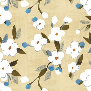 white flowers on khaki