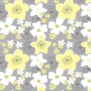 Mod Floral Yellow and Gray 2