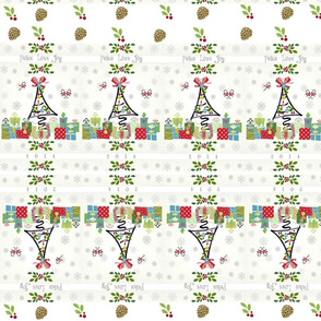 White Christmas PLJ -pinecones - mirror horizontal
