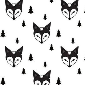 fox and trees black