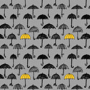 One yellow umbrella