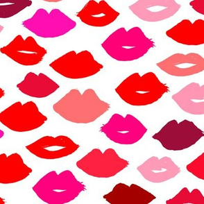 lips // lipstick fashion beauty makeup valentines kiss love fabric illustration pattern for girls