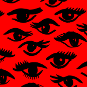 eyes // beauty makeup red and black fashion illustration pattern fabric