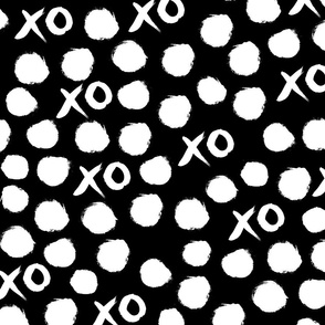 xoxo // black and white xo heart valentines black and white minimal gender neutral kids fabric