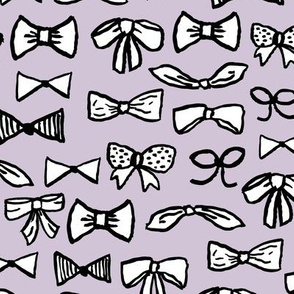 bows // fashion beauty print in pastel lavender for trendy girls illustration pattern on textiles