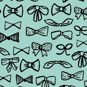 bows // fashion beauty print in mint