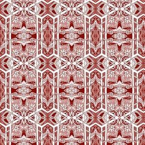 Gothic Geometric (dark red etching style)