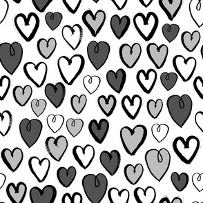 hearts // greyscale hand-drawn valentines love hearts