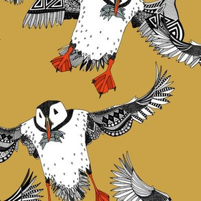 Atlantic Puffins gold