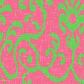 Lucette Ikat in Bright Pink and Lime