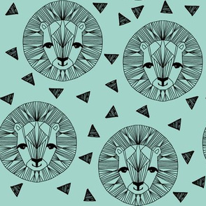 Lion Face - Pale Turquoise by Andrea Lauren