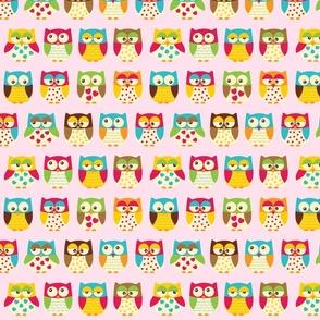 Autumn Owls on Pink