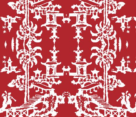 Escher pagoda-carmine red