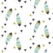 aqua feathers // mustard