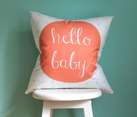 Hello Baby Coral Mint Pillow Cover // 18""