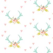 aqua floral antlers