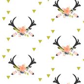 coral floral antlers