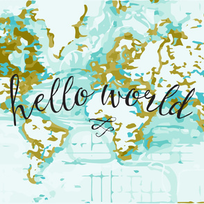 Hello World Baby Blanket or Swaddle // mustard