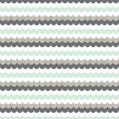 silver glitter scallop // mint // small