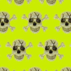 Sparkly Diamond Skulls on Lime