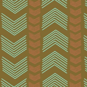 Herringbone Stripe in Coral and Mint