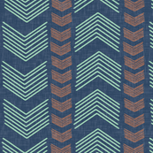 Herringbone Stripe in Navy Mint and Coral