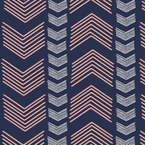 Herringbone Stripe in Navy and Coral