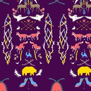 woodland-ornament-purpleyellowbluepink2