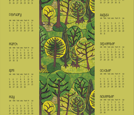 The Avenues calendar tea towel