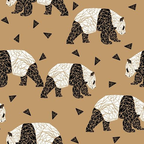 Geometric Panda - Lion Brown by Andrea Lauren