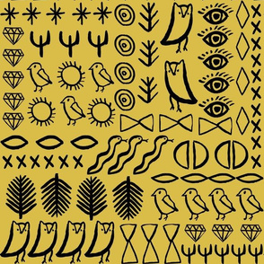 shapes // boho mustard owl bird cactus jewel hippie glyphs aztec