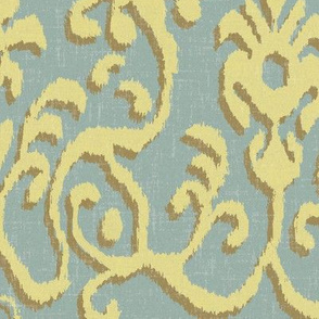 Lucette Ikat in Soft Blue and Sunshine
