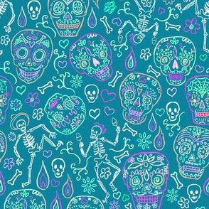 Sugar Skulls on Teal