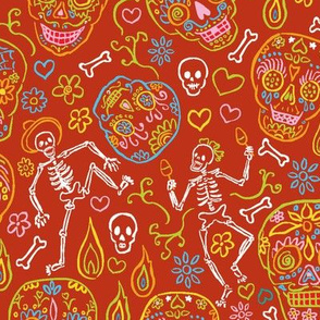 Sugar Skulls on Red Large