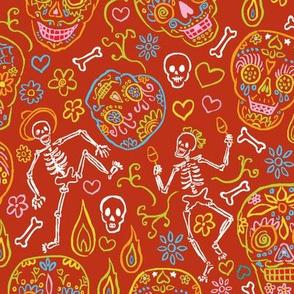 Sugar Skulls on Red Large