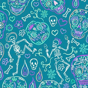Sugar Skulls on Teal Large