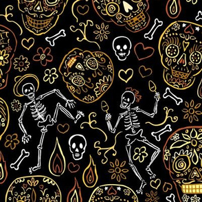 Sugar Skulls Tan and Black Large