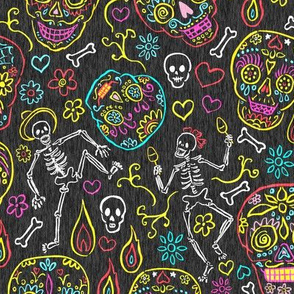 Sugar Skulls Dark Gray Large