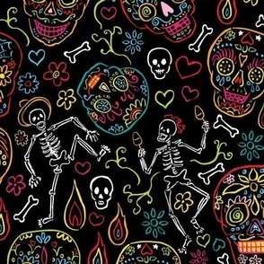 Sugar Skulls Black Large