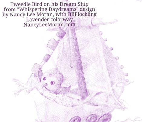 Itty-Bitty Lavender Toile hand-drawn fairy tales