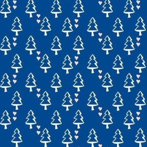 Christmas Tree with Hearts, Navy