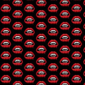 Vamp Bloody Lips on Black Background